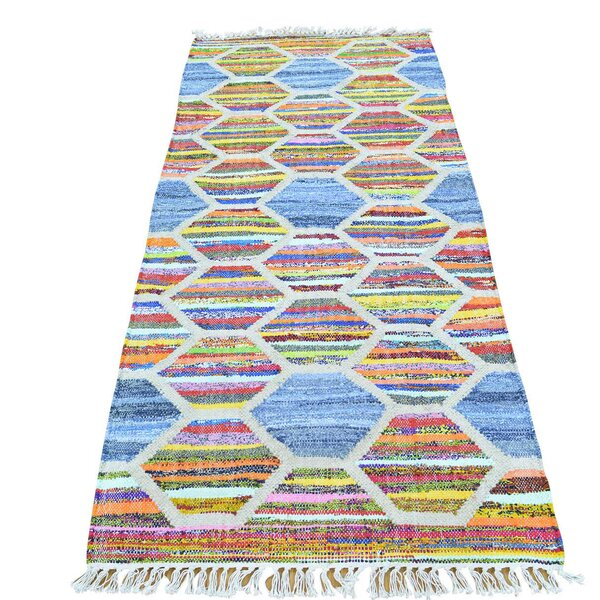 Kilim Hand-Knotted Denim Blue/Orange Area Rug by Bungalow Rose