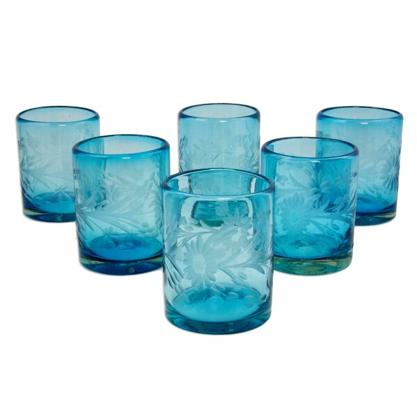 Fair Trade Engraved Pepita/Sunflowers  Hand Blown   Rock Drinking Glasses (Set of 6) by Novica