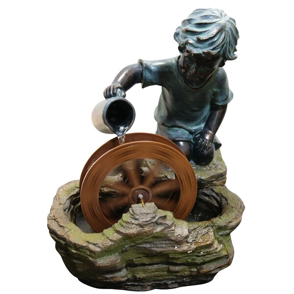 Resin/Polystone Boy with Wheel Sculptural Fountain by Alpine