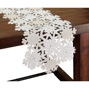 Shimmer Snowflake Embroidered Cutwork Table Runner