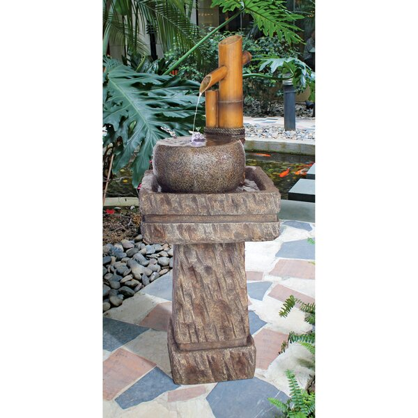 Resin Bamboo Pedestal Garden Sculptural Fountain with LED Light by Wildon Home ®