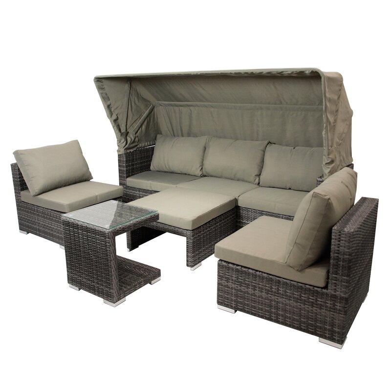 6 Sitzer Lounge Set Berlin Aus Polyrattan Mit Polster