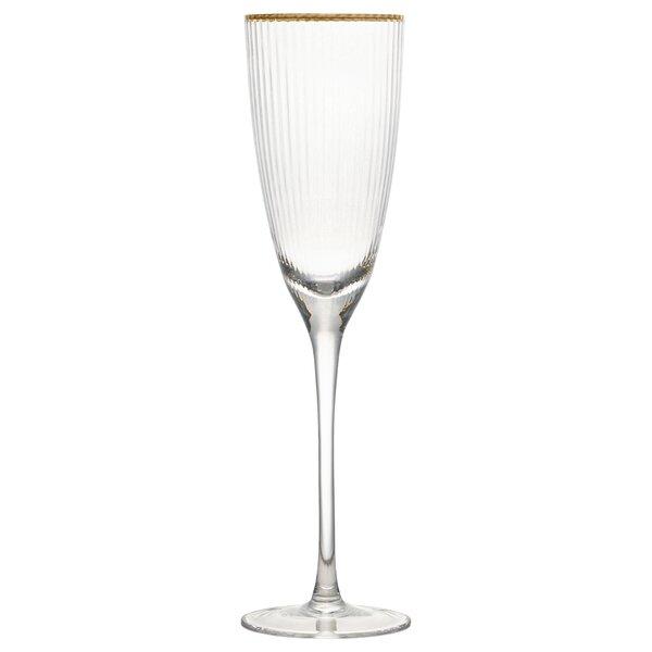 Toni Rim Glass 9 oz. Champagne Flute (Set of 4) by Charlton Home