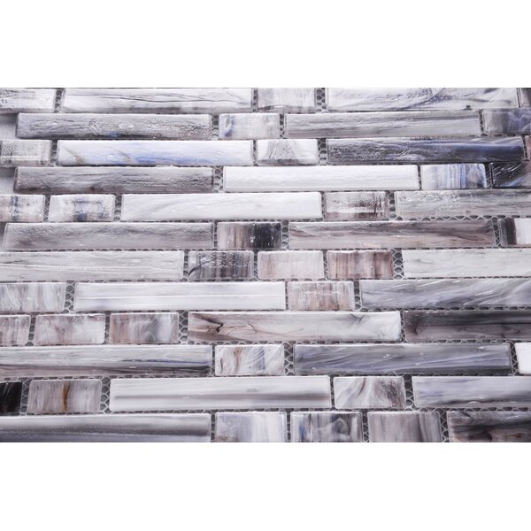 Magro in Mix 11.97 x 11.89 Glass Mosaic Tile in Gray by Byzantin Mosaic