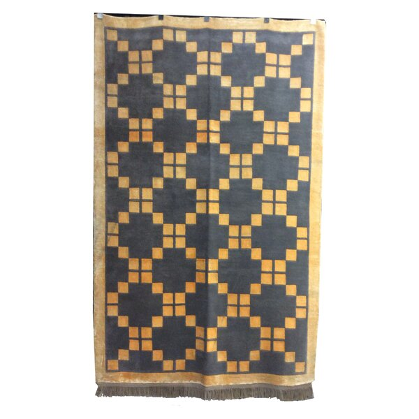 One-of-a-Kind Kohlmeier Hand-Knotted Wool Gray/Gold Area Rug by Latitude Run