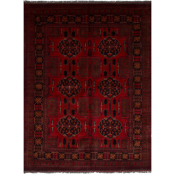 One-of-a-Kind Bilberry Traditional Hand-Knotted Wool Red Area Rug by Bloomsbury Market
