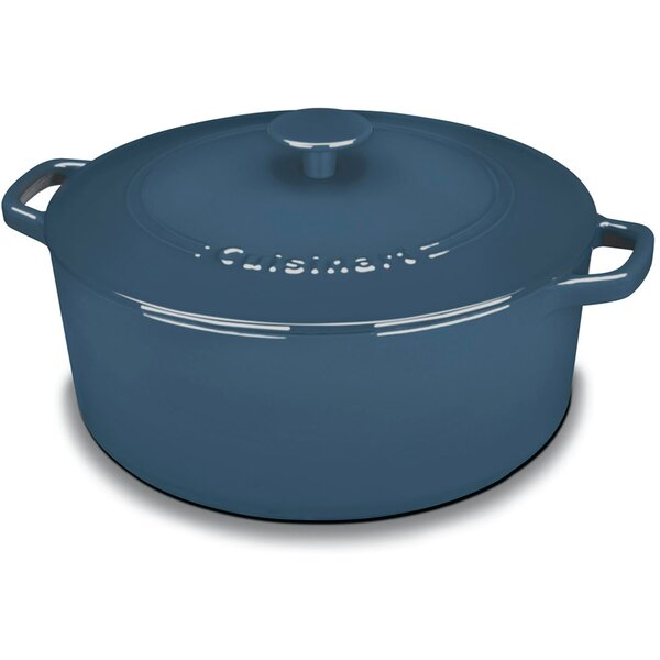 Round Enameled Cast Iron 7 Qt. Covered Casserole b