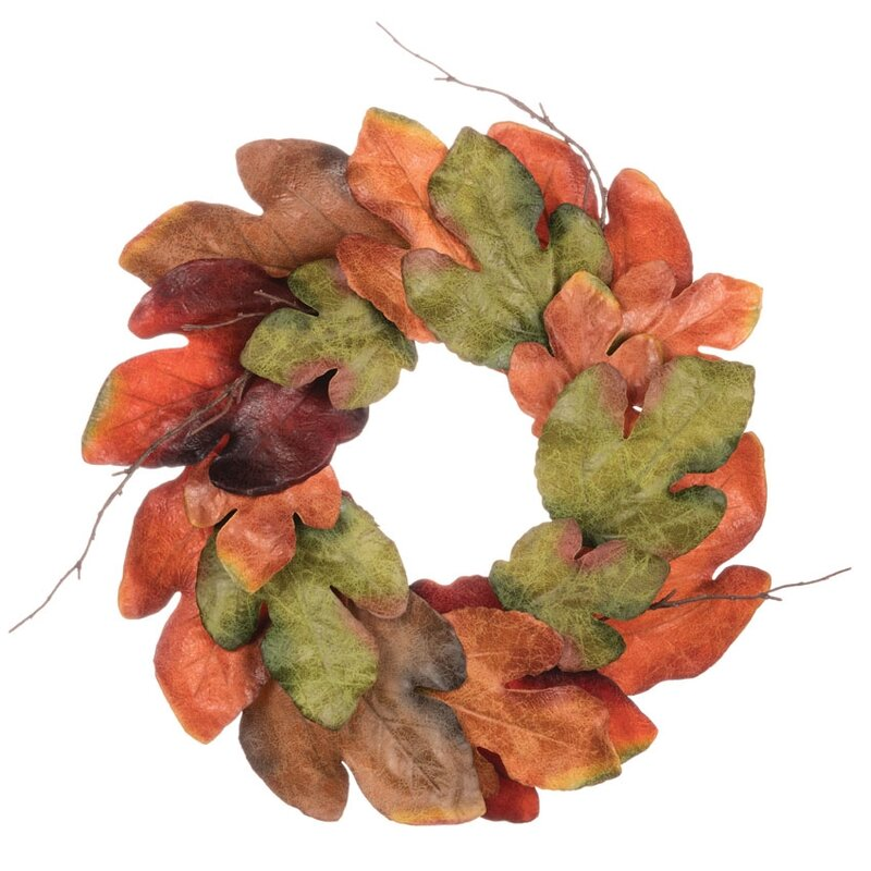 "Autumn Large Leaf Accent 20"" Polyester Wreath"