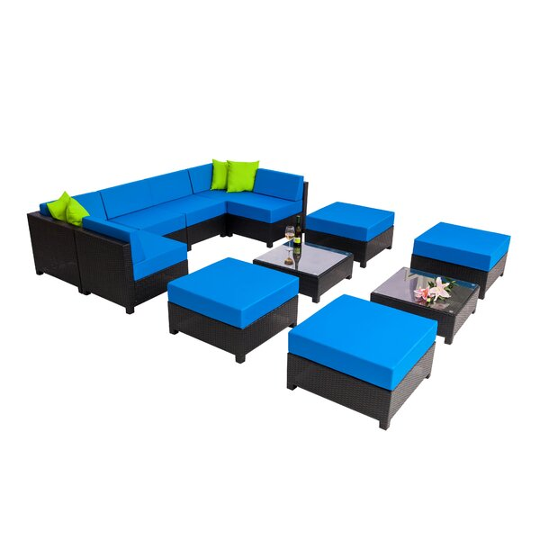 Mickelson Patio 12 Piece Rattan Sectional Seating Group with Cushions by Latitude Run