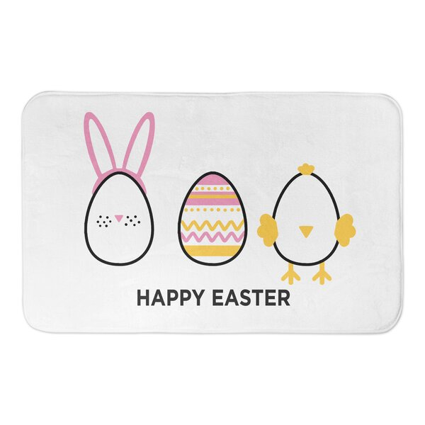 Petit Happy Easter Eggs Rectangle Non-Slip Bath Rug
