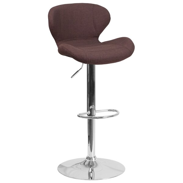 Mullaney Adjustable Height Swivel Bar Stool by Wade Logan