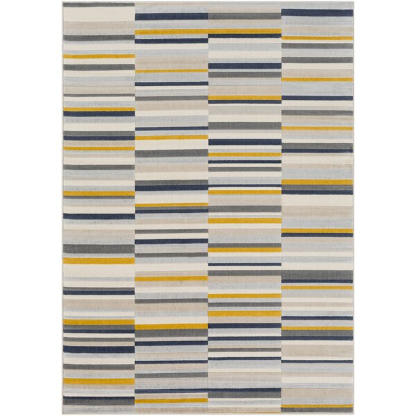 Bahr Striped Mustard/Charcoal Area Rug by George Oliver