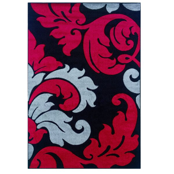 Black/Red Area Rug by Threadbind