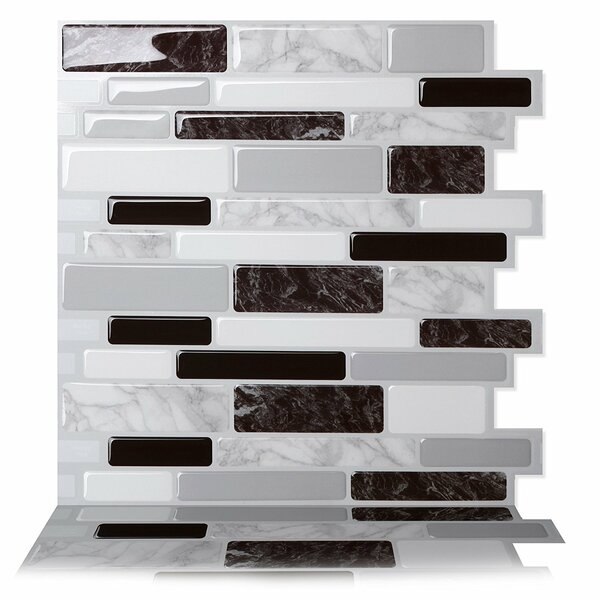 Polito 10 x 10 Peel & Stick Mosaic Tile in Black/White by Tic Tac Tiles