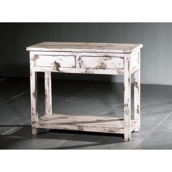 Haleigh Shutter Wood 2 Drawer Console Table By Highland Dunes