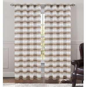 Deneuve Striped Semi-Sheer Grommet Curtain Panels (Set of 2)