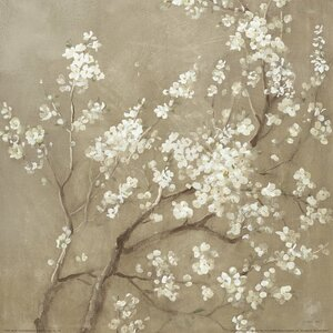 White Cherry Blossoms I Painting Print on Wrapped Canvas by East Urban Home