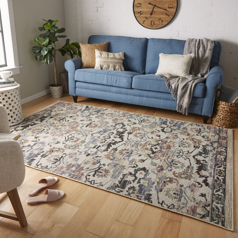 Canora Grey Washburn Vintage Oriental Looped Hooked Blue Purple Area Rug Reviews Wayfair