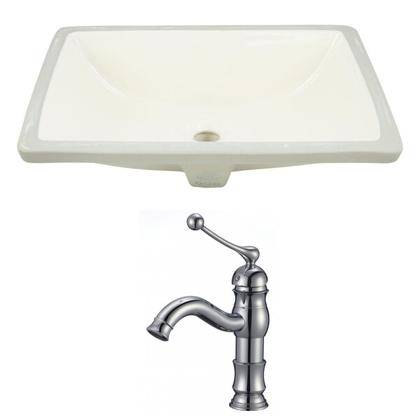 CUPC Ceramic Rectangular Undermount Bathroom Sink with Faucet and Overflow by American Imaginations
