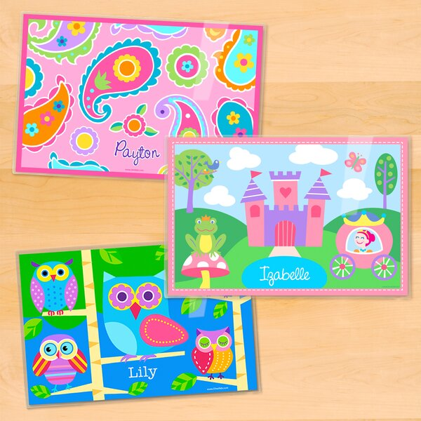 Girls 3 Piece Personalized Placemat Set by Olive Kids