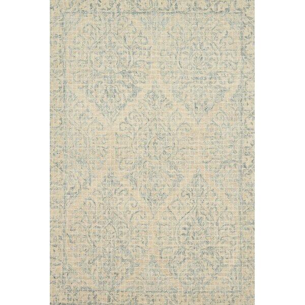 Zeinab Hand Hooked Wool Beige/Sky Area Rug by Bungalow Rose