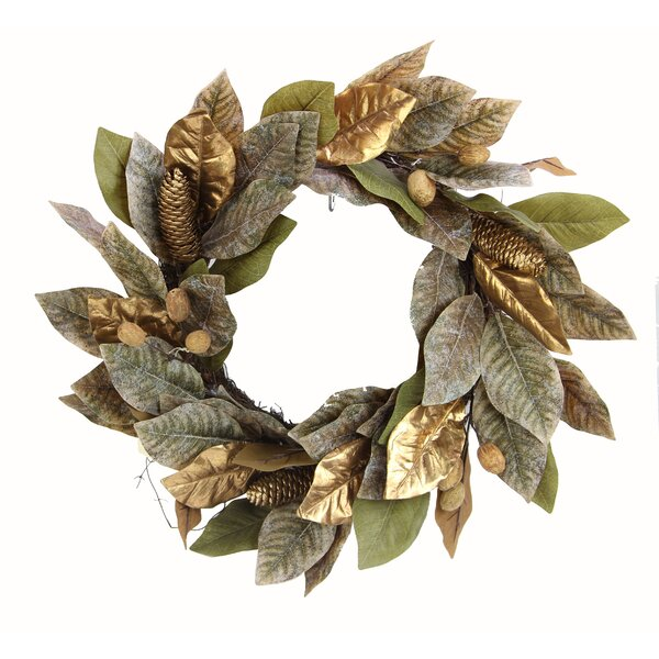 Artificial Magnolia 21 Wreath by The Holiday Aisle
