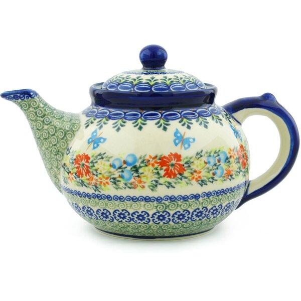 Red Cornflower And Blue Butterflies 1.63 qt. Stoneware Teapot by Polmedia