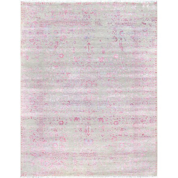 Transitional Hand-Knotted Wool/Silk Gray/Pink Area Rug by Pasargad