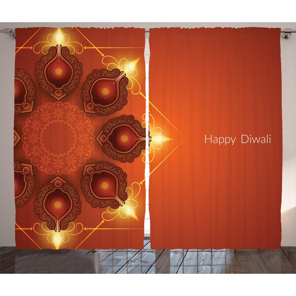 Toey Diwali Graphic Print and Text Semi-Sheer Rod Pocket Curtain Panels (Set of 2) by World Menagerie