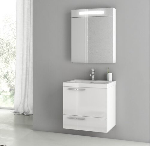 New Space 24 Wall-Mounted Single Bathroom Vanity Set with Mirror by ACF Bathroom Vanities