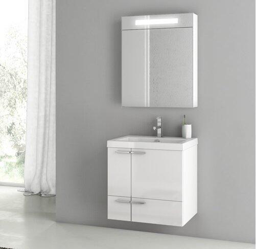 New Space 24 Wall-Mounted Single Bathroom Vanity Set with Mirror by ACF Bathroom Vanities