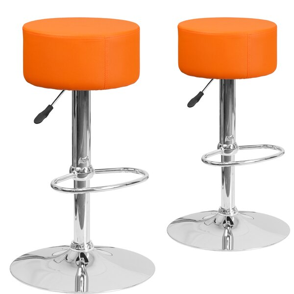 Neary Adjustable Height Swivel Bar Stool (Set of 2) by Orren Ellis