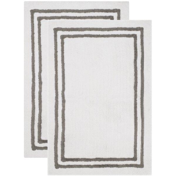 Plush Master Rectangle 100% Cotton Non-Slip Striped Bath Rug (Set of 2)