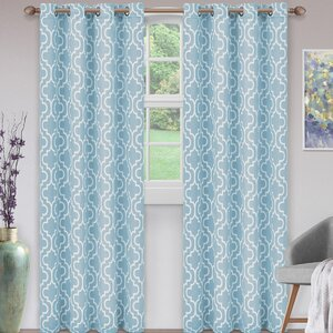 Kellerman Trellis Geometric Blackout Thermal Grommet Curtain Panels (Set of 2)