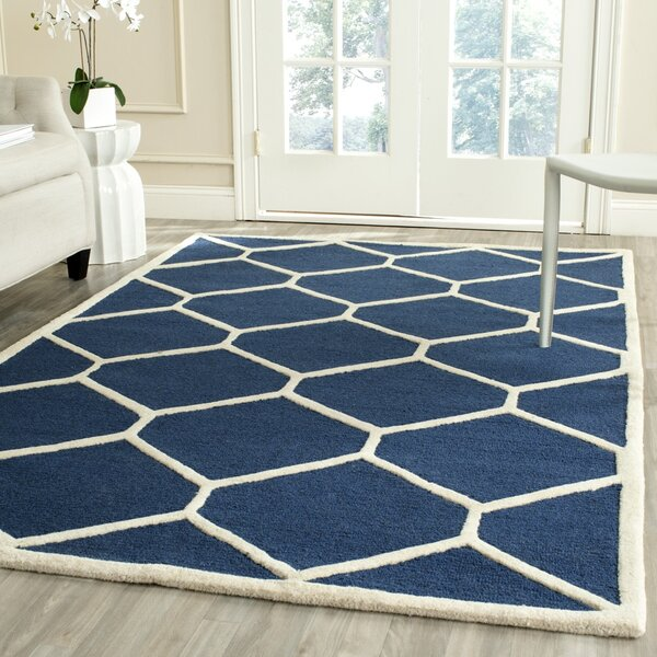 Martins Hand-Tufted Wool Navy Blue Area Rug by Wrought Studio