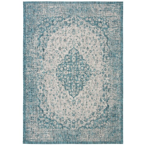 Llewellyn Teal Indoor/Outdoor Area Rug by One Allium Way