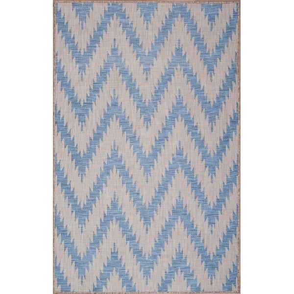 Stenberg Ivory/Blue Indoor/Outdoor Area Rug by Wrought Studio