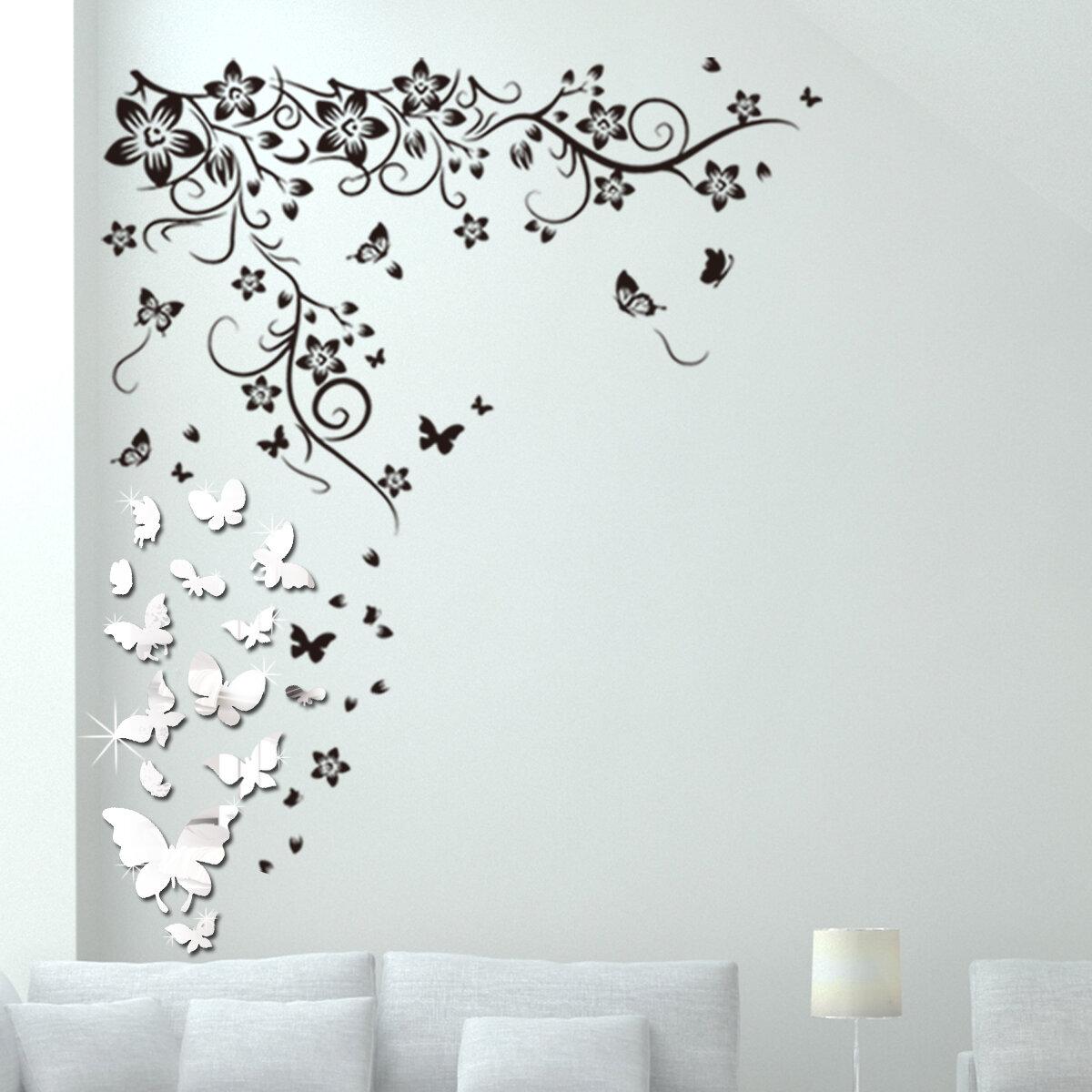 Tapeten Walplus Mirror Butterflies With Butterflies Vine Wall Sticker Set Decorations Heimwerker