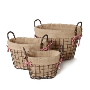 3 Piece Oval Shaped Rustic Style Multi Purpose Basket Set by Adeco Trading