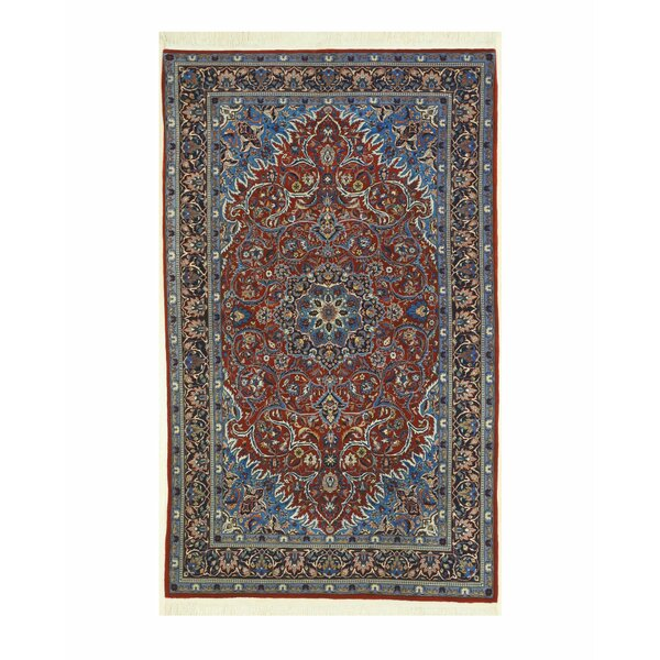 Sarouk Hand-Knotted Rust/Blue Area Rug by Eastern Rugs