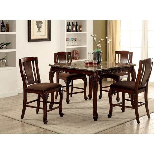 Dominey 5 Piece Counter Height Solid Wood Dining Set by Astoria Grand Astoria Grand