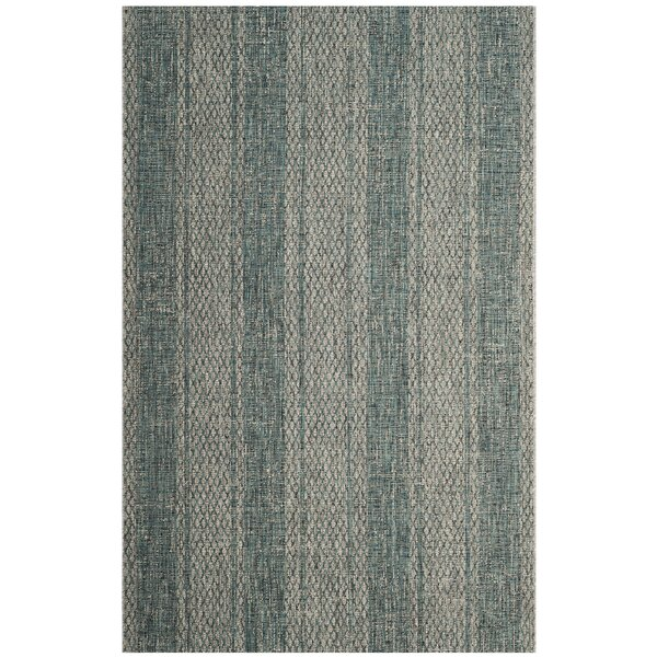 Myers Striped Light Gray/Teal Indoor/Outdoor Area Rug by Mistana