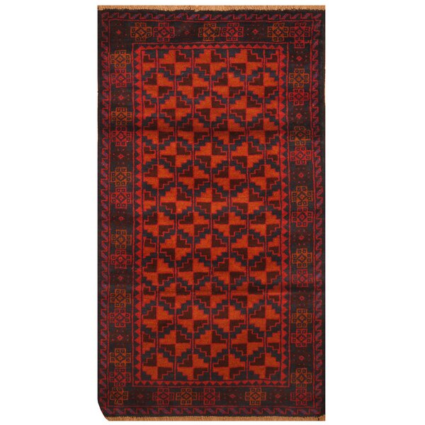One-of-a-Kind Prentice Hand-Knotted Wool Orange/Navy Area Rug by Isabelline