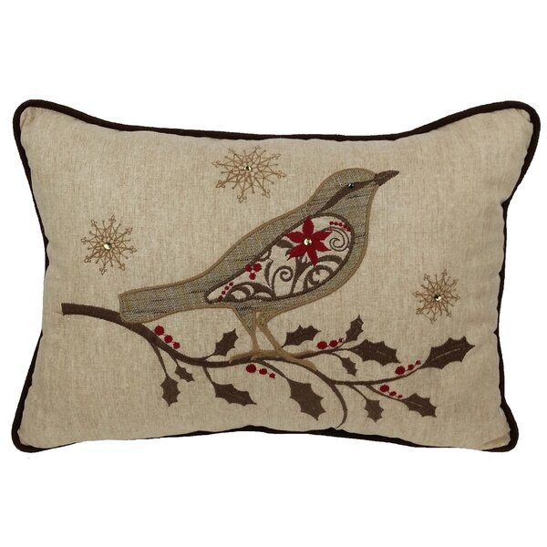 Bird on Twig Emboridery Lumbar Pillow by Xia Home Fashions