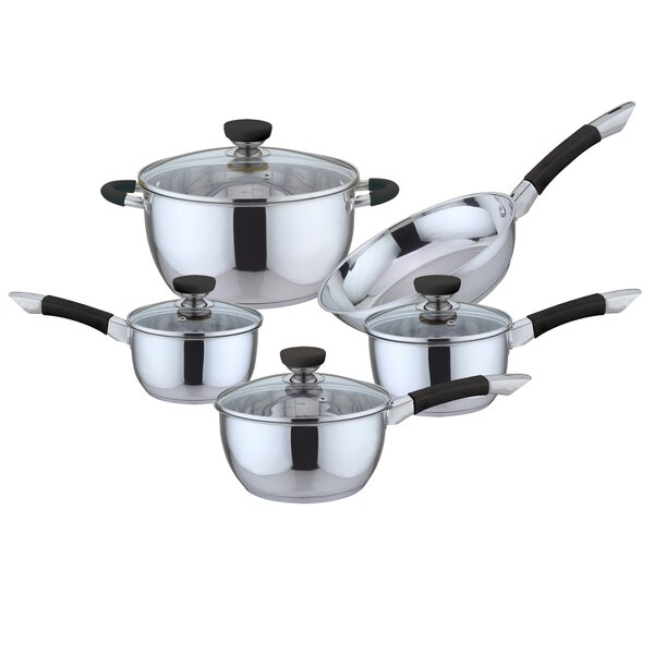 9 Piece Non-Stick Stainless Steel Cookware Set by Culinary Edge