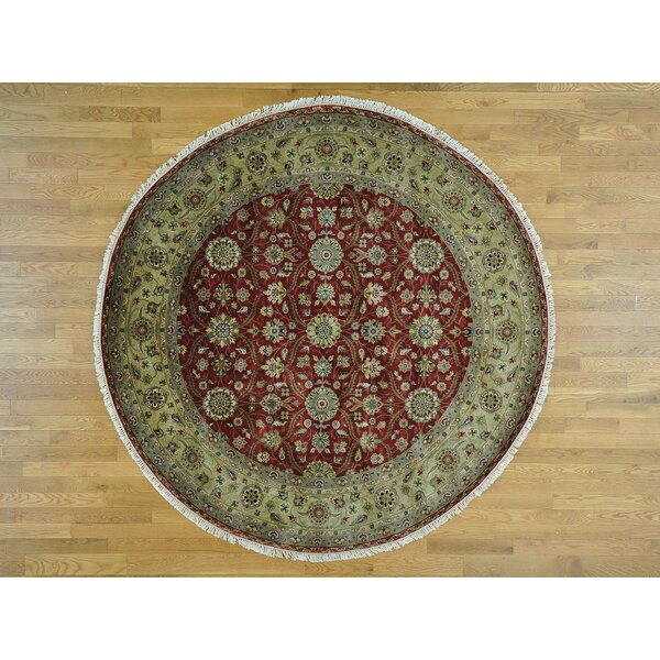 One-of-a-Kind Boxwood Hereke Design Handwoven Red Wool/Silk Area Rug by Isabelline