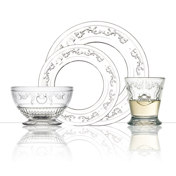 Versailles Glass 24 Piece Dinnerware Set, Service for 6 by La Rochere