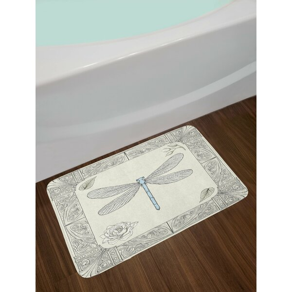 Hand Black Pale Blue Dragonfly Bath Rug by East Urban Home