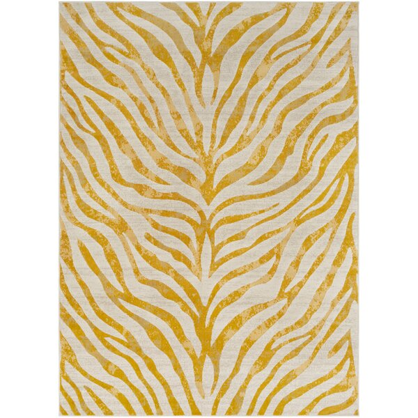 Aine Distressed Animal Print Mustard/Beige Area Rug by Mercer41