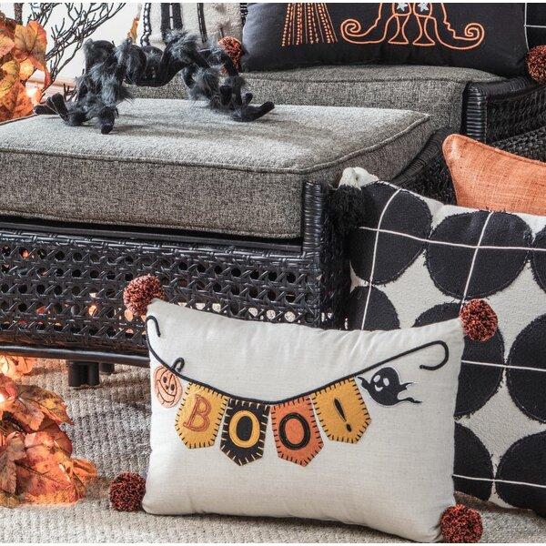 Doran Boo Banner Halloween Rectangular Cotton Lumbar Pillow by The Holiday Aisle